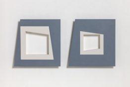 Acrylique et poudre de marbre sur contre-plaqué, 50 x 50 cm (x2), 2015