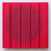 Peinture, fil, laque sur polycarbonate, 50 x 50 cm, 2016