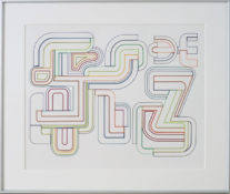 Dessin gouaché sur carton, 74 x 87 cm encadré, circa 1970
