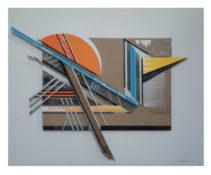 Assemblage de bois, carton, papier, bombe aérosol et sérigraphie sous plexi, 65 x 80 x 15 cm, 2016