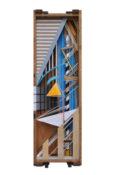 Assemblage de bois, carton, papier, bombe aérosol et sérigraphie dans une caisse en bois, 115,5 x 36 x 25 cm, 2017